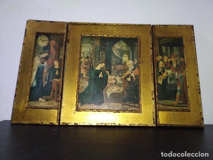 Arte: Antiguo Tríptico madera cuadro religioso virgen niño Jesús - Foto 3 - 192953831