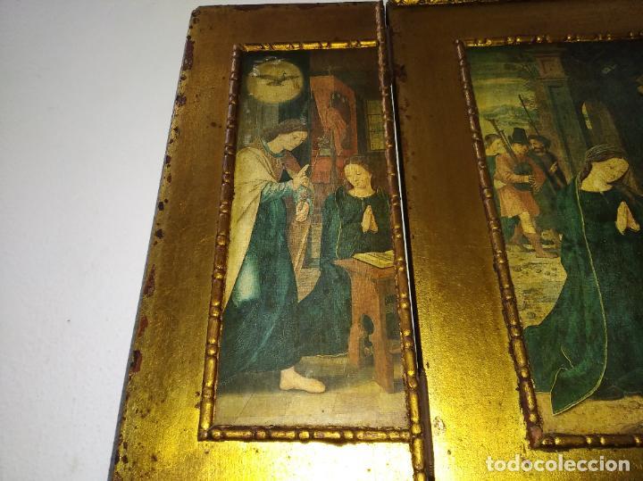 Arte: Antiguo Tríptico madera cuadro religioso virgen niño Jesús - Foto 4 - 192953831