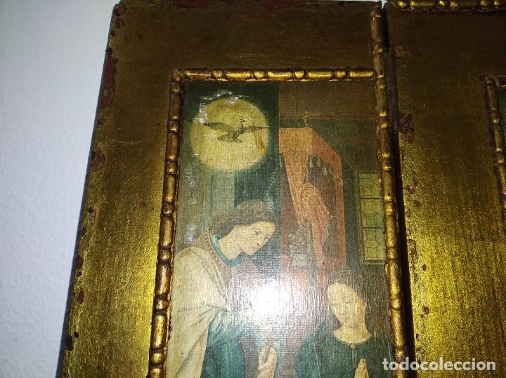 Arte: Antiguo Tríptico madera cuadro religioso virgen niño Jesús - Foto 5 - 192953831