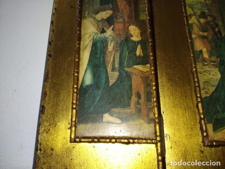 Arte: Antiguo Tríptico madera cuadro religioso virgen niño Jesús - Foto 6 - 192953831