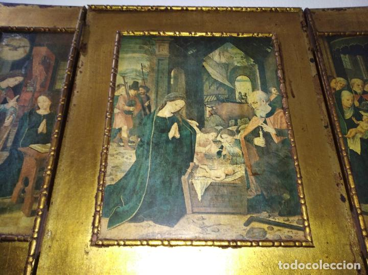 Arte: Antiguo Tríptico madera cuadro religioso virgen niño Jesús - Foto 7 - 192953831