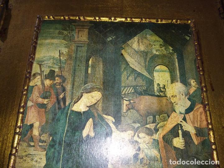 Arte: Antiguo Tríptico madera cuadro religioso virgen niño Jesús - Foto 8 - 192953831