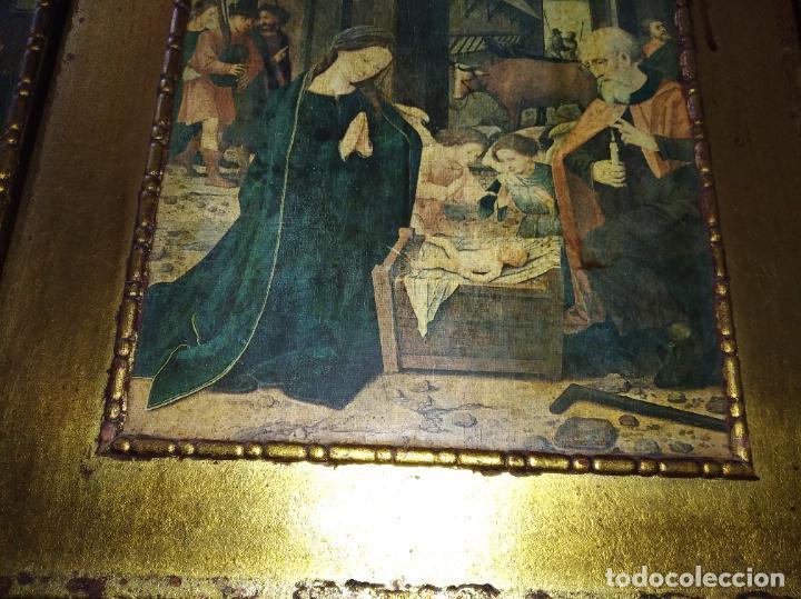 Arte: Antiguo Tríptico madera cuadro religioso virgen niño Jesús - Foto 9 - 192953831