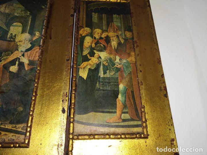 Arte: Antiguo Tríptico madera cuadro religioso virgen niño Jesús - Foto 10 - 192953831