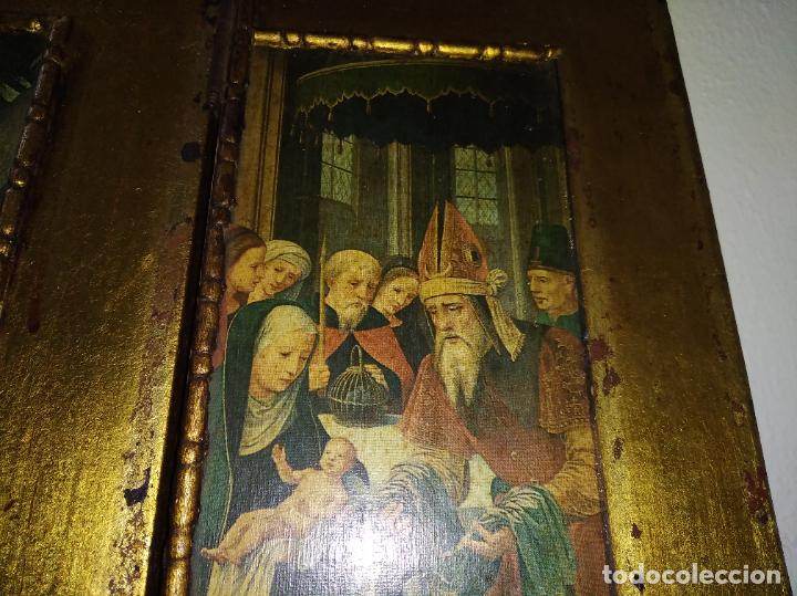 Arte: Antiguo Tríptico madera cuadro religioso virgen niño Jesús - Foto 11 - 192953831