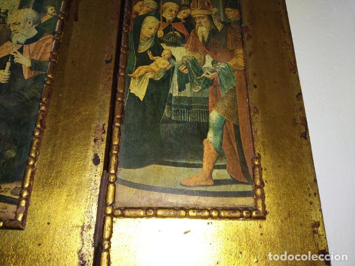Arte: Antiguo Tríptico madera cuadro religioso virgen niño Jesús - Foto 12 - 192953831