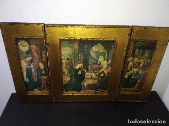 Arte: Antiguo Tríptico madera cuadro religioso virgen niño Jesús - Foto 13 - 192953831