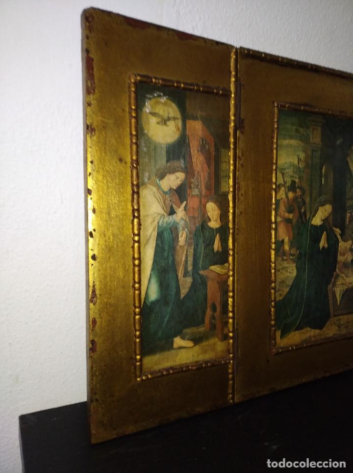 Arte: Antiguo Tríptico madera cuadro religioso virgen niño Jesús - Foto 14 - 192953831