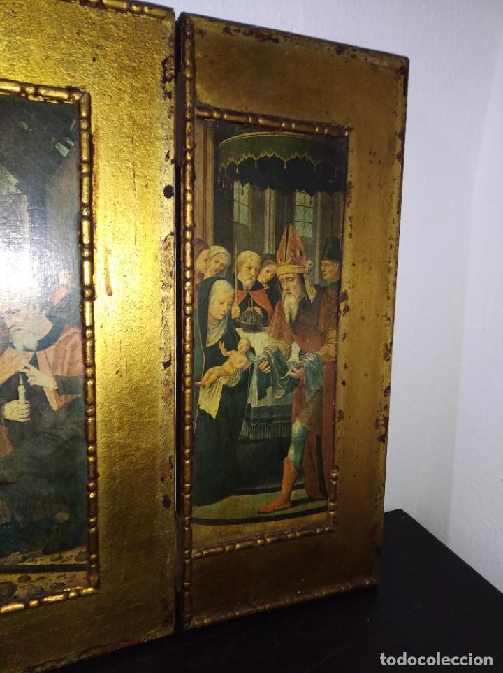 Arte: Antiguo Tríptico madera cuadro religioso virgen niño Jesús - Foto 16 - 192953831
