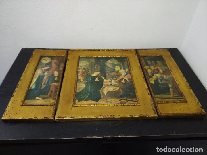 Arte: Antiguo Tríptico madera cuadro religioso virgen niño Jesús - Foto 24 - 192953831
