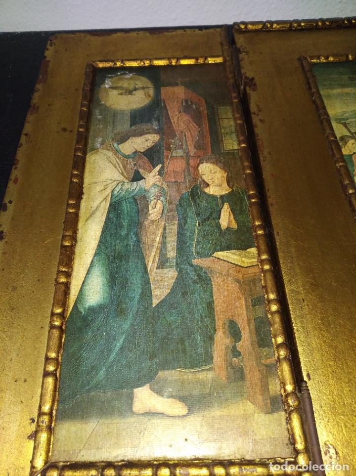 Arte: Antiguo Tríptico madera cuadro religioso virgen niño Jesús - Foto 25 - 192953831