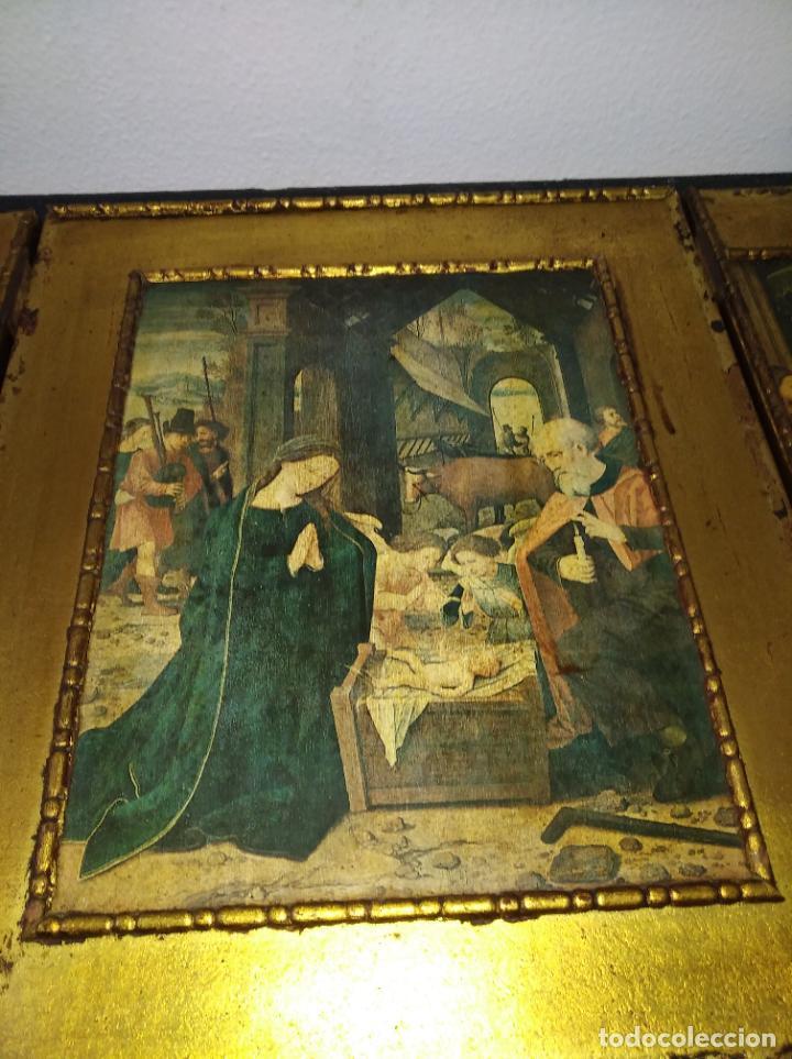 Arte: Antiguo Tríptico madera cuadro religioso virgen niño Jesús - Foto 26 - 192953831