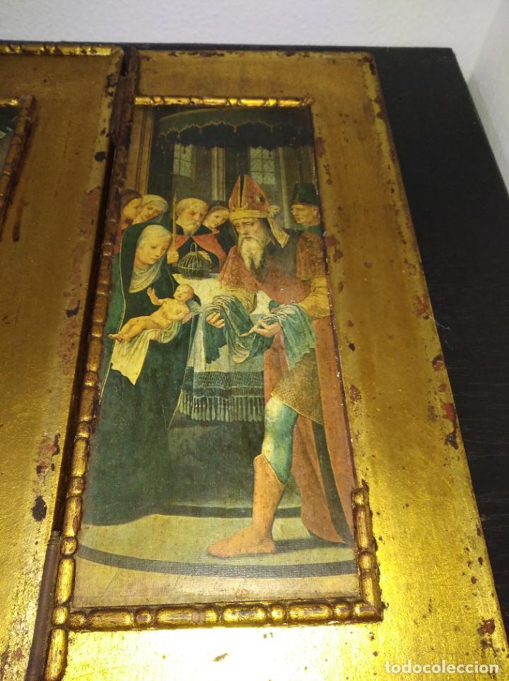 Arte: Antiguo Tríptico madera cuadro religioso virgen niño Jesús - Foto 27 - 192953831