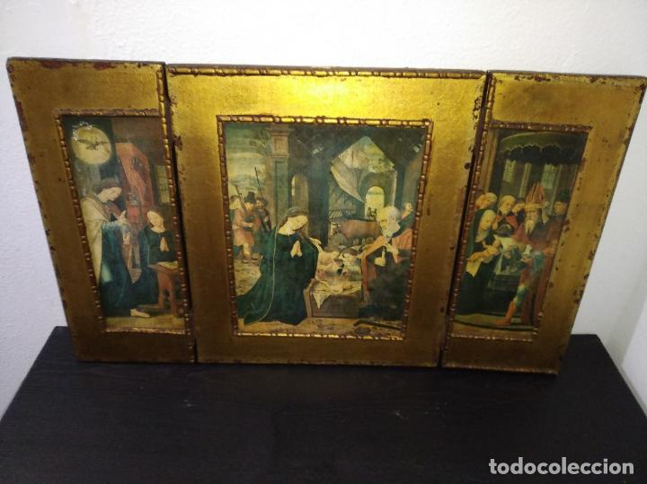 ANTIGUO TRÍPTICO MADERA CUADRO RELIGIOSO VIRGEN NIÑO JESÚS (Arte - Arte Religioso - Trípticos)
