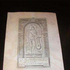 Arte: SIGLO XIX GRABADO CRISTO DE LOS AFLIGIDOS SE VENERA EN LOS MERCENARIOS DESCALZOS DE RIBAS GERONA . Lote 192976046