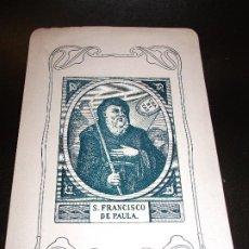 Arte: TARJETA ESTAMPA DE SAN FRANCISCO DE PAULA MALAGA - RELIGION. Lote 193013161