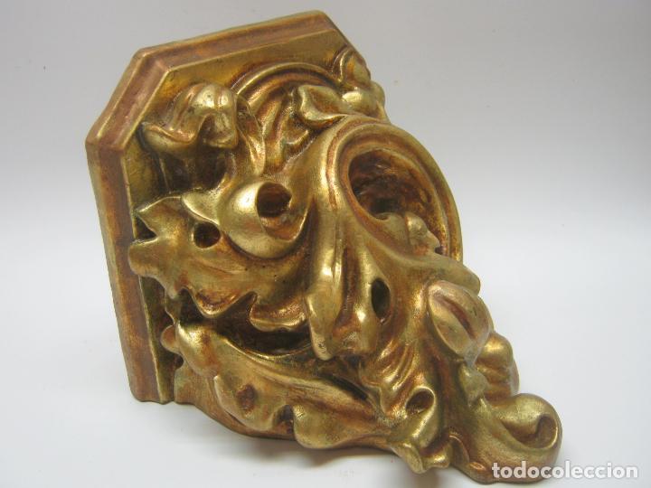 Arte: Bella peana o pedestal estuco dorado para santo Virgen - hojas de acanto.... sello inciso Olot - Foto 3 - 193181675
