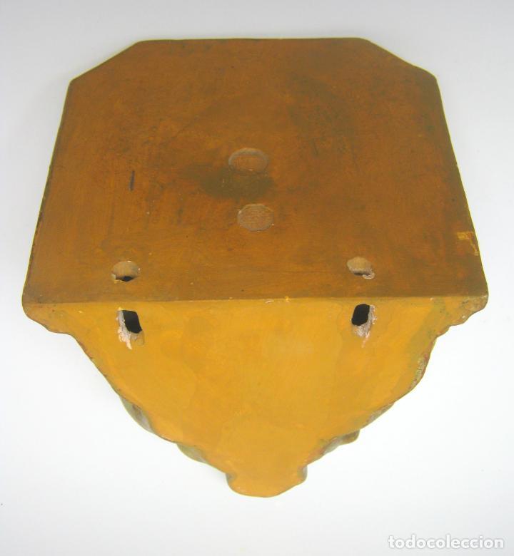 Arte: Bella peana o pedestal estuco dorado para santo Virgen - hojas de acanto.... sello inciso Olot - Foto 4 - 193181675