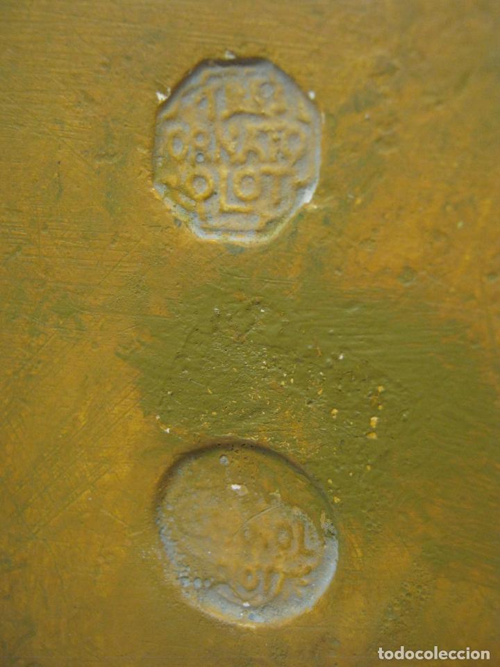 Arte: Bella peana o pedestal estuco dorado para santo Virgen - hojas de acanto.... sello inciso Olot - Foto 5 - 193181675