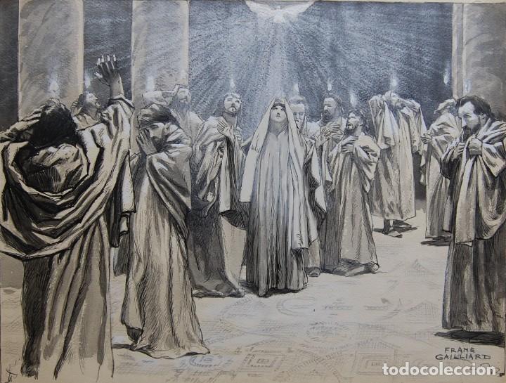 Arte: PENTECOSTES ( ESPÍRITU SANTO) - FRANZ GAILLIARD (Bélgica, 1861-1932) - Foto 3 - 27956513