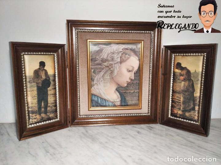 CUADRO TRÍPTICO VIRGEN Y CAMPESINOS (TELA IMPRESA) MARCO MADERA (Arte - Arte Religioso - Trípticos)