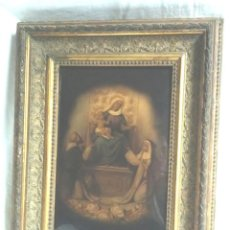 Arte: VIRGEN DEL ROSARIO, SANTO DOMINGO Y SANTA ROSA, CRISÓLEO CRISTAL PINTADO AL OLEO. MED 30 X 39 CM. Lote 193295803