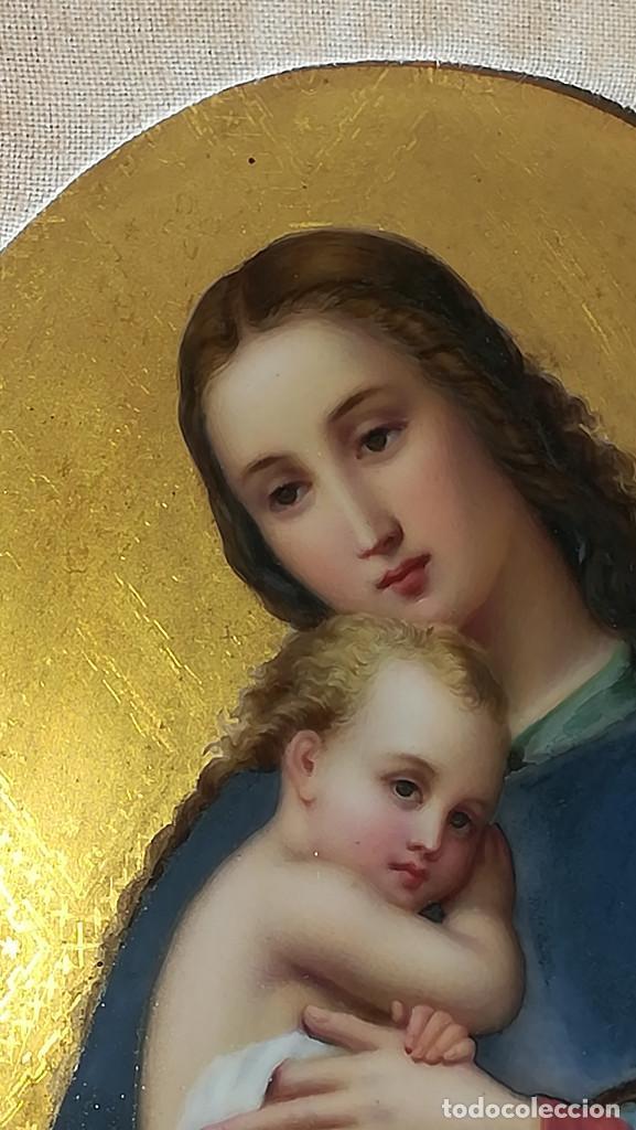 Arte: TRIPTICO ESMALTE DE LA VIRGEN MARIA Y JESUS CON MADERA TALLADA - Foto 2 - 190712648