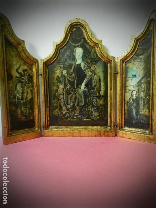 TRIPTICO DE MADERA VISAGRAS CON ARGOLLA. MUY BONITO 40 X 51 (Arte - Arte Religioso - Trípticos)