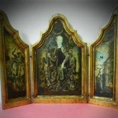 Arte: TRIPTICO DE MADERA VISAGRAS CON ARGOLLA. MUY BONITO 40 X 51. Lote 193637512