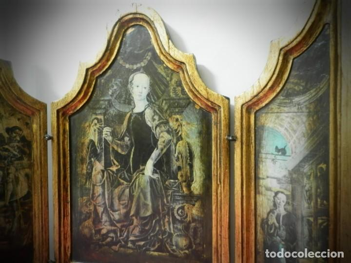 Arte: TRIPTICO DE MADERA VISAGRAS CON ARGOLLA. MUY BONITO 40 X 51 - Foto 3 - 193637512