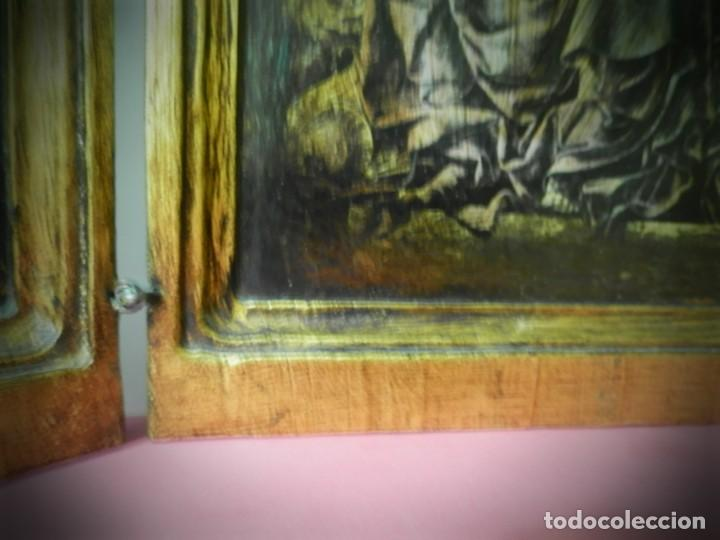 Arte: TRIPTICO DE MADERA VISAGRAS CON ARGOLLA. MUY BONITO 40 X 51 - Foto 5 - 193637512