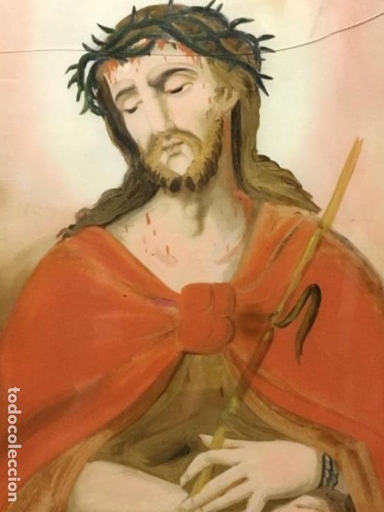 (MV) CRISTAL PINTADO RELIGIOSO S.XVIII / XIX, VER FOTOGRAFIAS (Arte - Arte Religioso - Pintura Religiosa - Otros)