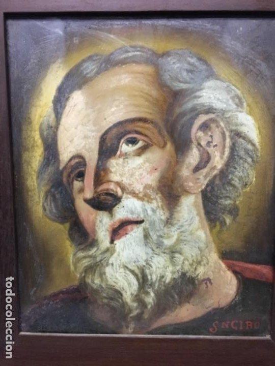 (MT) CRISTAL PINTADO RELIGIOSO S.XVIII/ XIX FIRMADO SNCIRO (Arte - Arte Religioso - Pintura Religiosa - Otros)