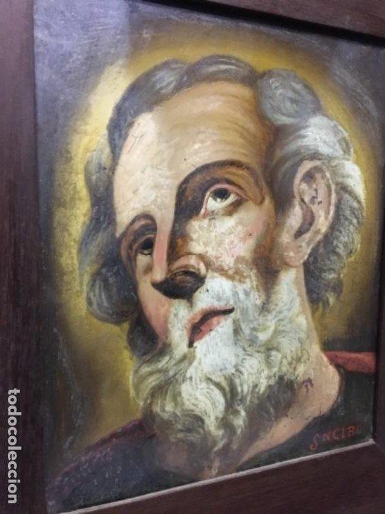 Arte: (MT) CRISTAL PINTADO RELIGIOSO S.XVIII/ XIX FIRMADO SNCIRO - Foto 2 - 193703058