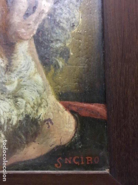 Arte: (MT) CRISTAL PINTADO RELIGIOSO S.XVIII/ XIX FIRMADO SNCIRO - Foto 3 - 193703058