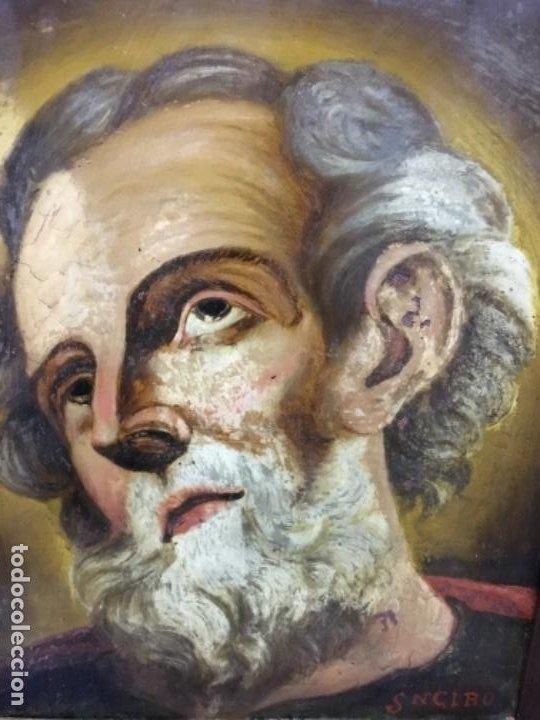 Arte: (MT) CRISTAL PINTADO RELIGIOSO S.XVIII/ XIX FIRMADO SNCIRO - Foto 4 - 193703058