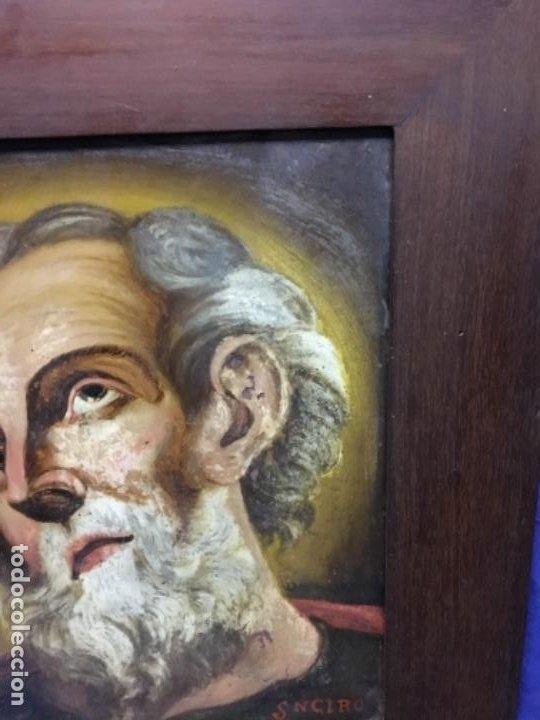 Arte: (MT) CRISTAL PINTADO RELIGIOSO S.XVIII/ XIX FIRMADO SNCIRO - Foto 5 - 193703058