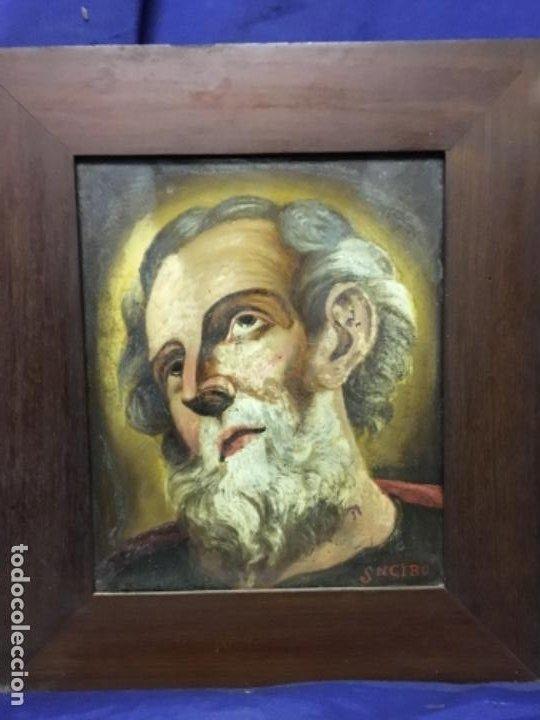 Arte: (MT) CRISTAL PINTADO RELIGIOSO S.XVIII/ XIX FIRMADO SNCIRO - Foto 7 - 193703058