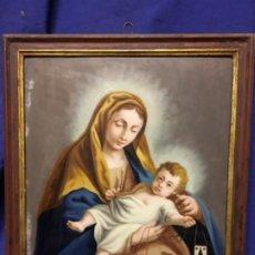 Arte: (MT) CRISTAL PINTADO RELIGIOSO S.XVIII/ XIX , 46,5X39 CM. Lote 193703468