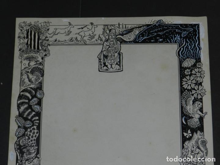 (M) DIBUJO ORIGINAL GOZO DE MONTSERRAT - LLAVERIAS???, 35X49,5 CM, SEÑALES DE USO NORMALES (Arte - Arte Religioso - Pintura Religiosa - Otros)