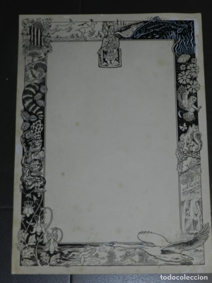 Arte: (M) DIBUJO ORIGINAL GOZO DE MONTSERRAT - LLAVERIAS???, 35X49,5 CM, SEÑALES DE USO NORMALES - Foto 2 - 193727141