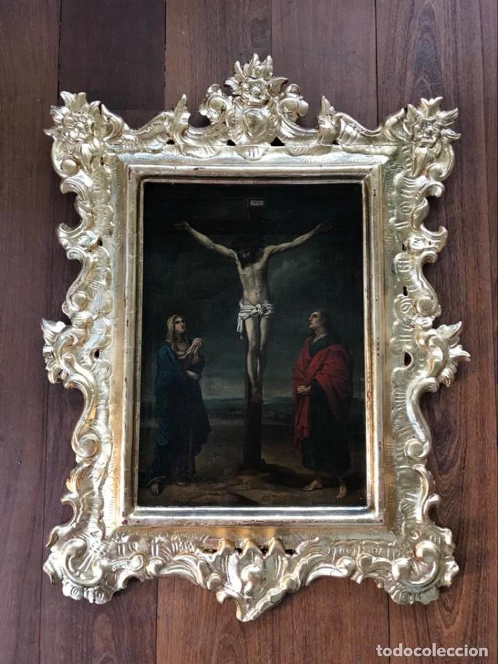 ESCUELA ESPAÑOLA SIGLO XVII. CALVARIO. LIENZO 40X29. MARCO EXCEPCIONAL. (Arte - Arte Religioso - Pintura Religiosa - Oleo)