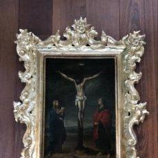 Arte: ESCUELA ESPAÑOLA SIGLO XVII. CALVARIO. LIENZO 40X29. MARCO EXCEPCIONAL.. Lote 94703711