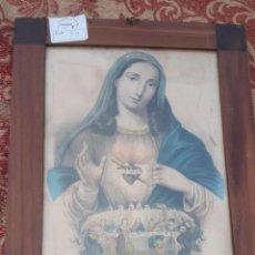 Art: LITOGRAFIA ANTIGUA COLOREADA SAGRADO CORAZON DE MARIA DE TAMAÑO 42 CMS. DE ALTO X 32 DE LARGO. Lote 193843832
