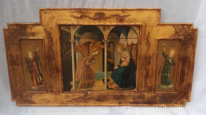 TRÍPTICO RELIGIOSO EN MADERA POLICROMADA 75 CMS DE LARGO X 40 DE ALTO (Arte - Arte Religioso - Trípticos)