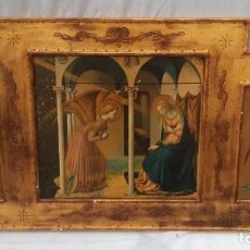 Arte: TRÍPTICO RELIGIOSO EN MADERA POLICROMADA 75 CMS DE LARGO X 40 DE ALTO. Lote 193853082