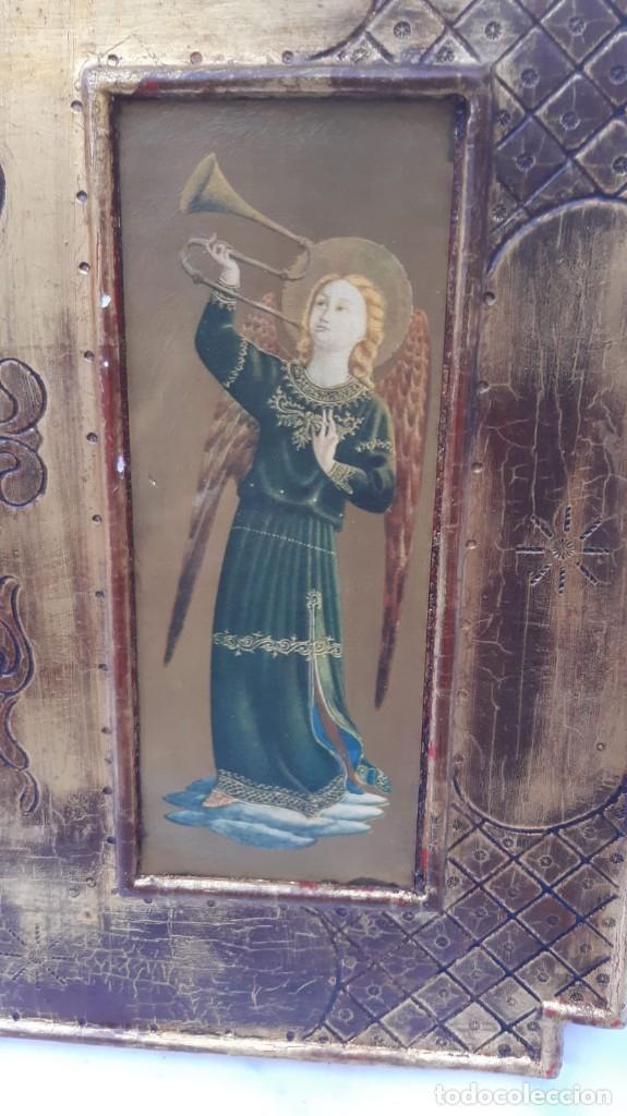 Arte: TRÍPTICO RELIGIOSO EN MADERA POLICROMADA 75 CMS DE LARGO X 40 DE ALTO - Foto 3 - 193853082