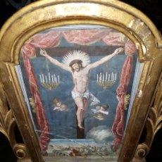 Arte: RETABLO CON GRAVADO ILUMINADO DEL SIGLO XVII-XVIII . Lote 193864571