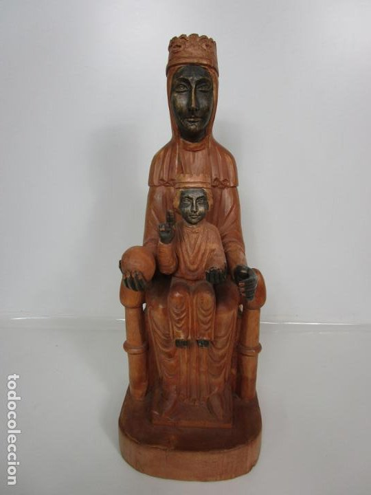 Arte: Bonita Virgen de Montserrat - Talla de Madera Policromada - 62 cm Altura - Foto 10 - 193880075