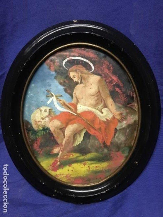 (MT) CRISTAL PINTADO RELIGIOSO S.XVIII / S.XIX ORIGINAL (Arte - Arte Religioso - Pintura Religiosa - Otros)